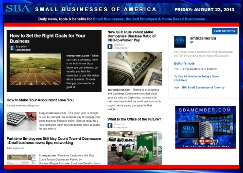 SBA Small Businesses of America 082313 news