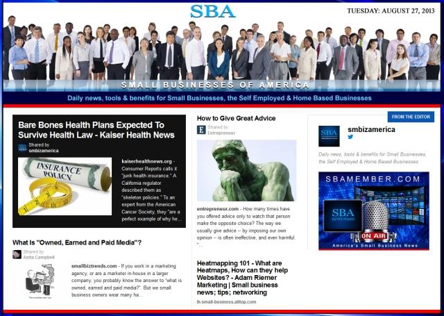 SBA Small Businesses of America 082713 news smbiz smallbusiness smallbiz