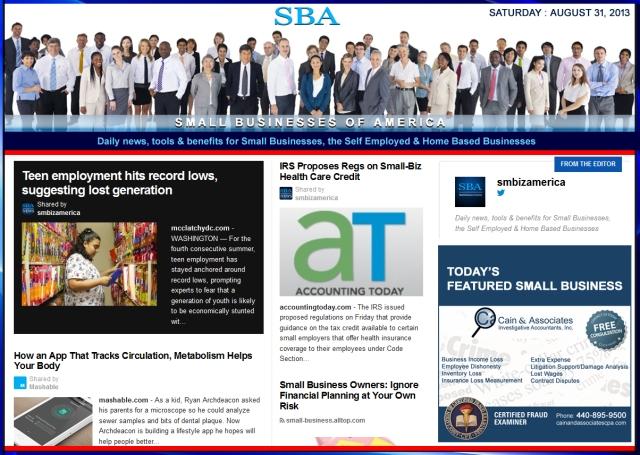 SBA Small Businesses of America 083113 smbiz news