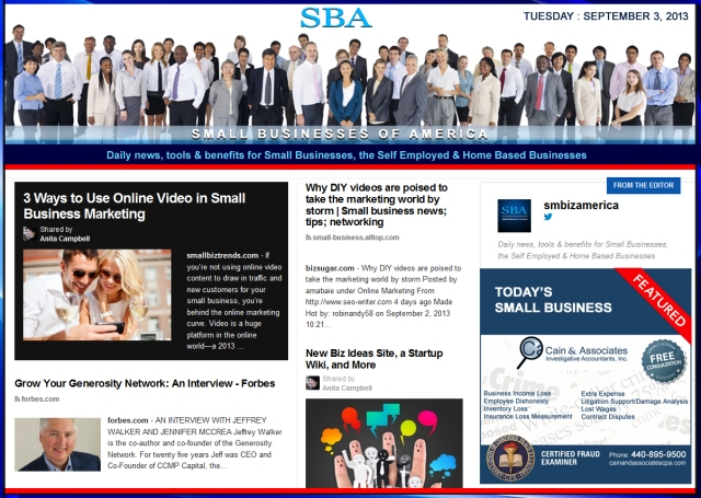 SBA Small Businesses of America 090313 smbiz news