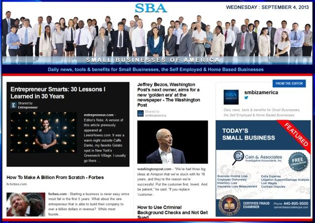 SBA Small Businesses of America 090413 smbiz news