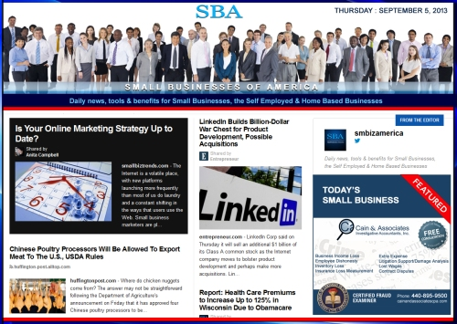SBA Small Businesses of America 090513 smbiz news