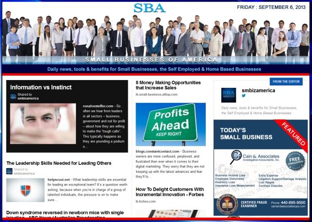 SBA Small Businesses of America 090613 smbiz news