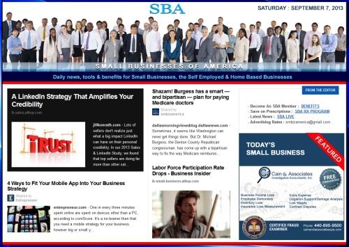 SBA Small Businesses of America 090713 smbiz news sbamember