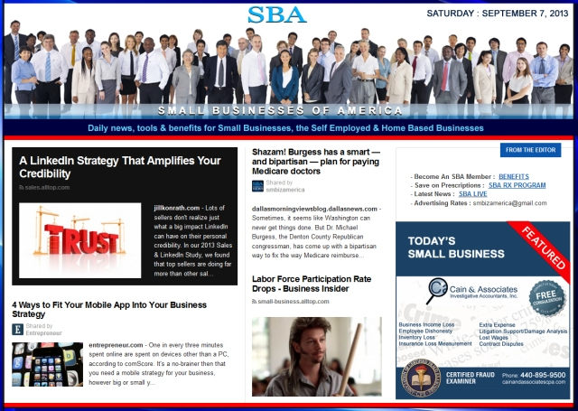 SBA Small Businesses of America 090713 smbiz news sbamember