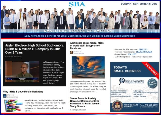 SBA Small Businesses of America 090813 smbiz news sbamember