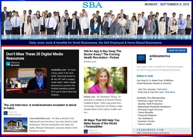 SBA Small Businesses of America 090913 smbiz news sbamember