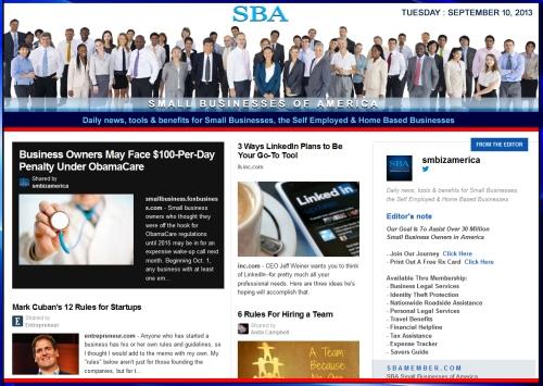 SBA Small Businesses of America 091013 smbiz news sbamember