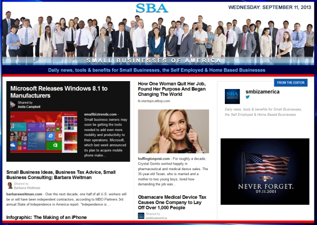 SBA Small Businesses of America 091113 smbiz news sbamember smbizamerica