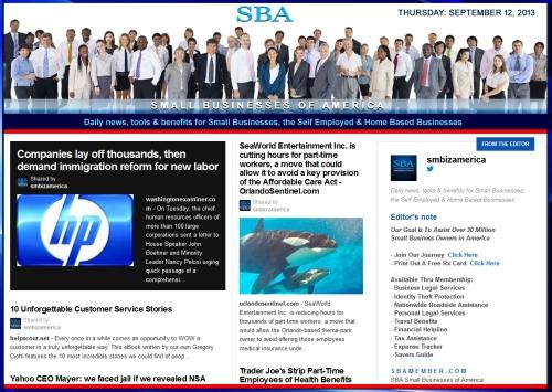 SBA Small Businesses of America 091213 smbiz news sbamember smbizamerica