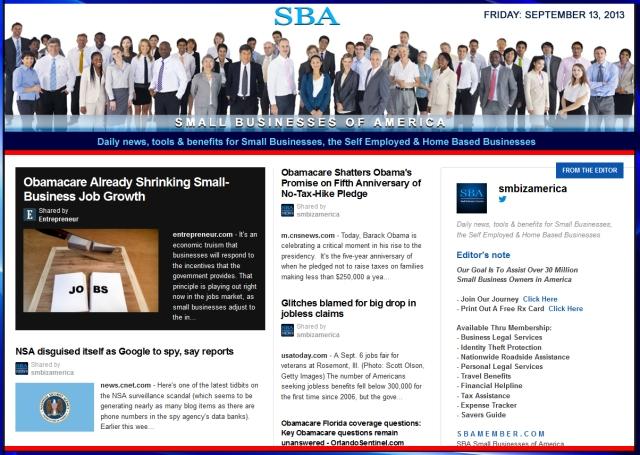 SBA Small Businesses of America 091313 smbiz news sbamember smbizamerica
