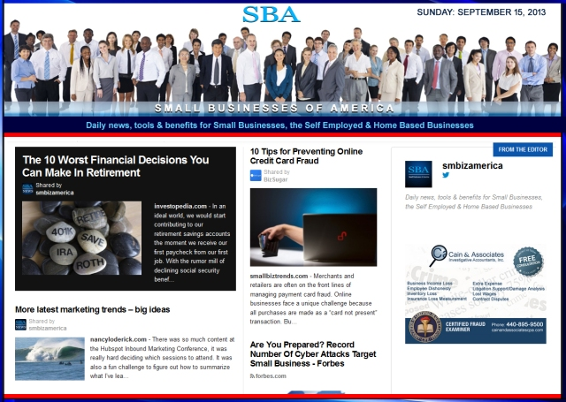 SBA Small Businesses of America 091513 smbiz news sbamember smbizamerica