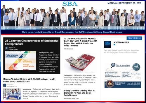 SBA Small Businesses of America 091613 smbiz news sbamember smbizamerica