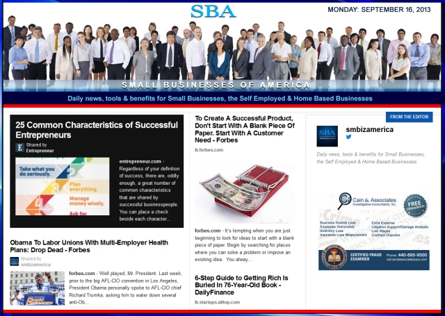 SBA Small Businesses of America 091613 smbiz news sbamember smbizamerica