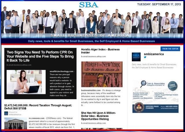 SBA Small Businesses of America 091713 smbiz news sbamember smbizamerica