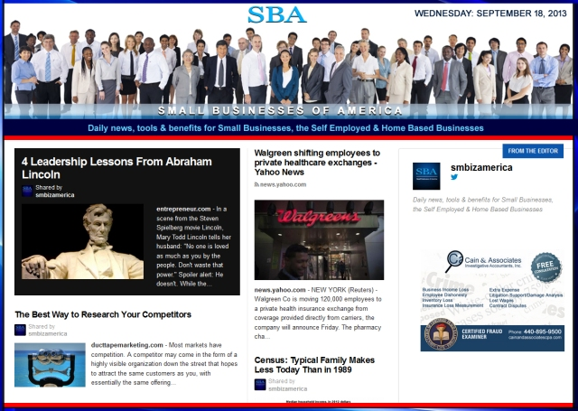SBA Small Businesses of America 091813 smbiz news sbamember smbizamerica