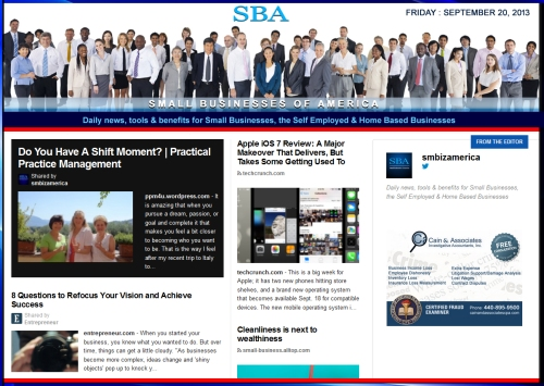 SBA Small Businesses of America 092013 smbiz news sbamember smbizamerica