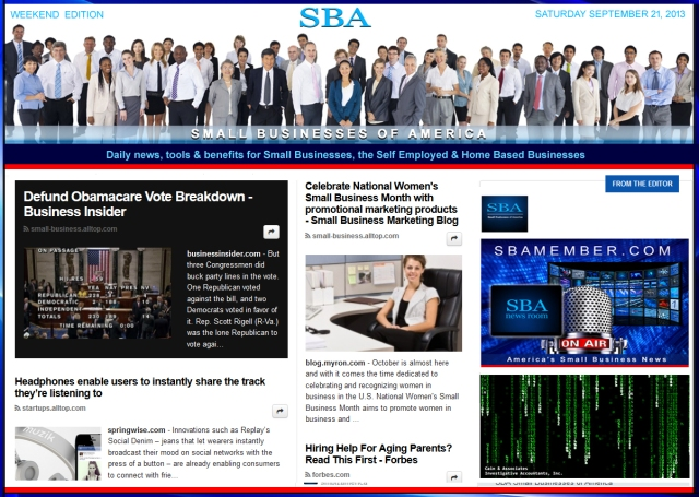 SBA Small Businesses of America 092113