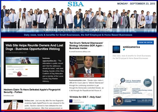 SBA Small Businesses of America 092313 smbiz news sbamember smbizamerica