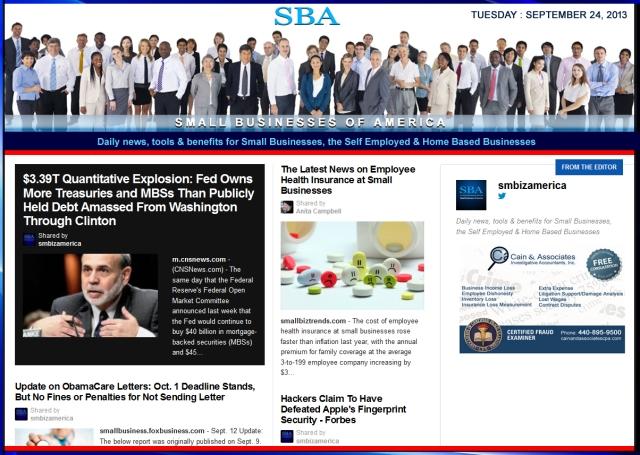 SBA Small Businesses of America 092413 smbiz news sbamember smbizamerica