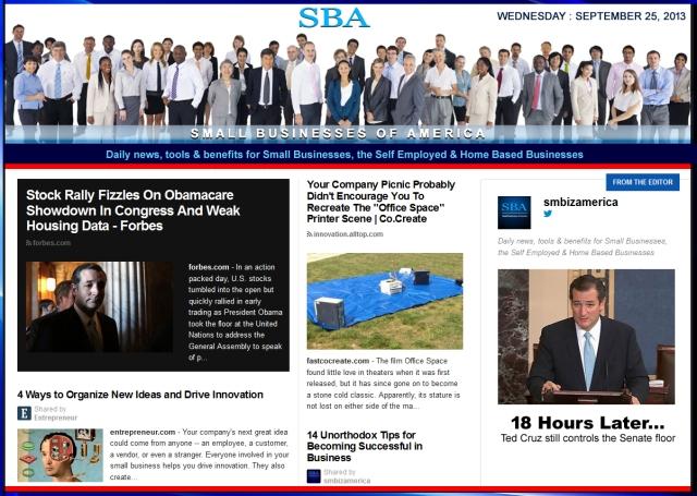 SBA Small Businesses of America 092513 smbiz news sbamember smbizamerica