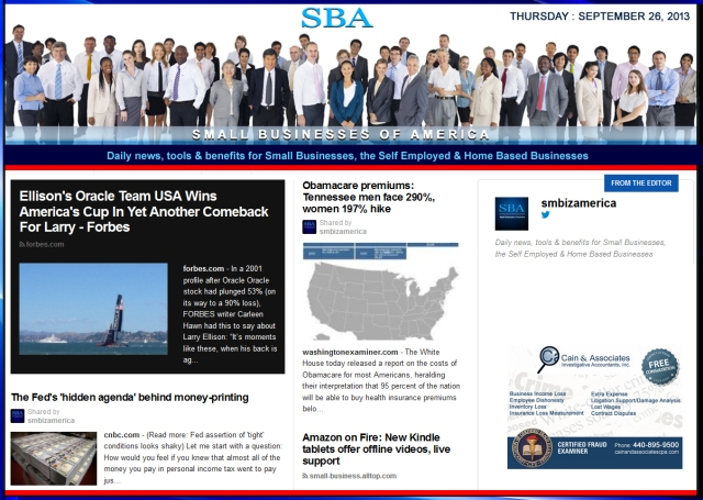 SBA Small Businesses of America 092613 smbiz news sbamember smbizamerica