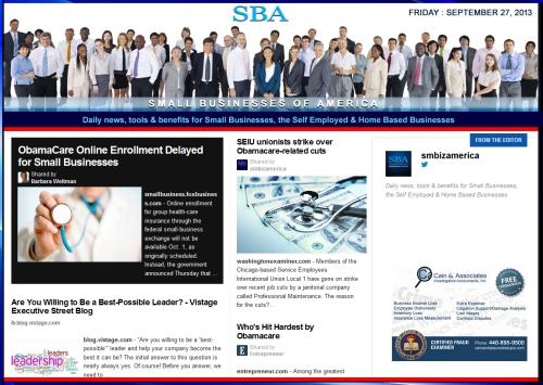 SBA Small Businesses of America 092713 smbiznews sbamember smbizamerica