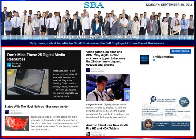 SBA Small Businesses of America 093013 smbiznews sbamember smbizamerica