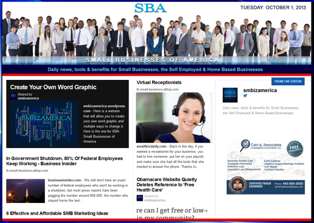 SBA Small Businesses of America 100113 smbiznews sbamember smbizamerica