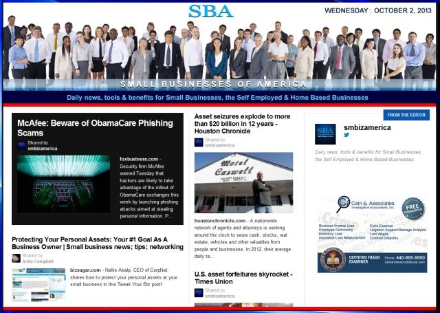 SBA Small Businesses of America 100213 smbiznews sbamember smbizamerica