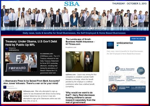 SBA Small Businesses of America 100313 smbiznews sbamember smbizamerica