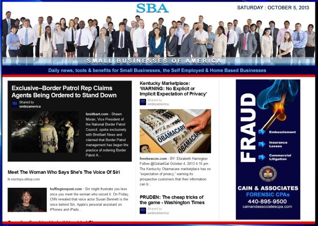 SBA Small Businesses of America 100513 smbiznews sbamember smbizamerica