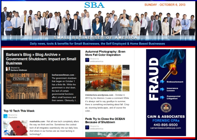 SBA Small Businesses of America 100613 smbiznews sbamember smbizamerica