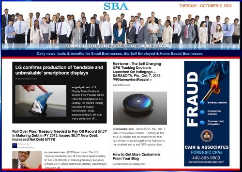 SBA Small Businesses of America 100813 smbiznews sbamember smbizamerica