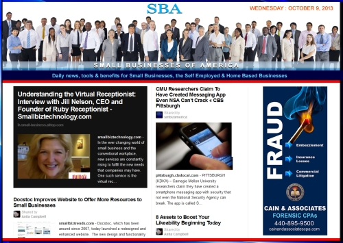 SBA Small Businesses of America 100913 smb smbiz smbizamerica
