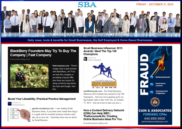 SBA Small Businesses of America 101113 smb smbiz smbizamerica Ad Cain and Associates