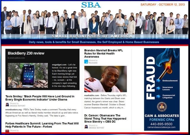 SBA Small Businesses of America 101213 smbizusa smb smbiz smbizamerica Ad Cain and Associates