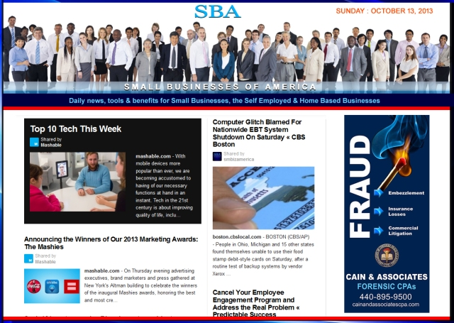 SBA Small Businesses of America 101313 smb smbiz smbizamerica Cain and Associates