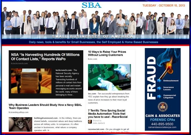 SBA Small Businesses of America 101513 #smbiz #SBA #smbizamerica