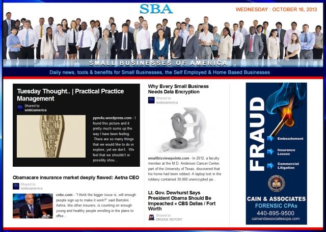 SBA Small Businesses of America 101613 #smbiz #SBA #smbizamerica Cain and Associates