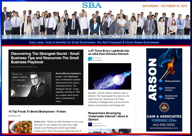 SBA Small Businesses of America 101913 news smbizamerica smbiz arson