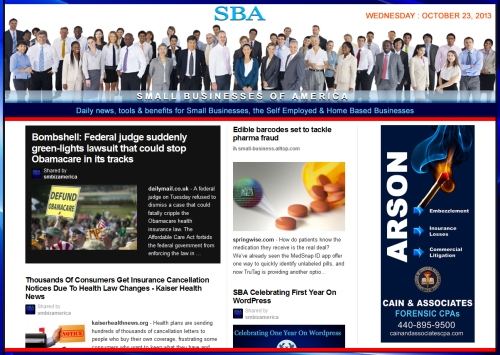 SBA Small Businesses of America 102313 news education smbizamerica smbiz anniversary