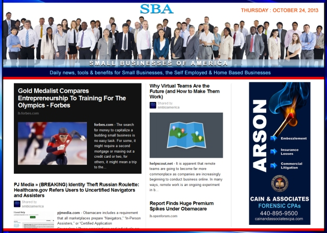 SBA Small Businesses of America 102413 news, smbiz, smbizamerica