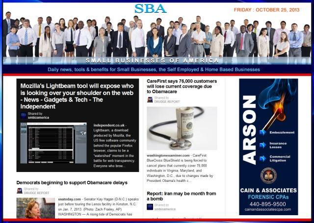 SBA Small Businesses of America 102513 news