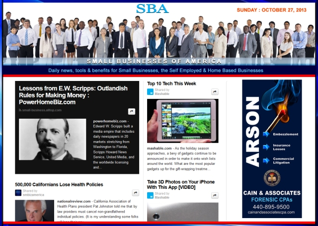 SBA Small Businesses of America 102713 news, smbiz, smbizamerica