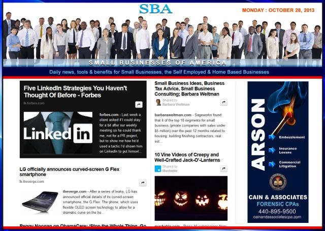 SBA Small Businesses of America 102813 news, smbiz, smbizamerica