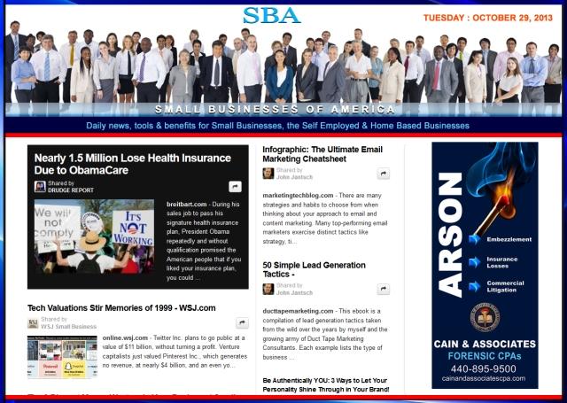 SBA Small Businesses of America 102913 news, smbiz, smbizamerica