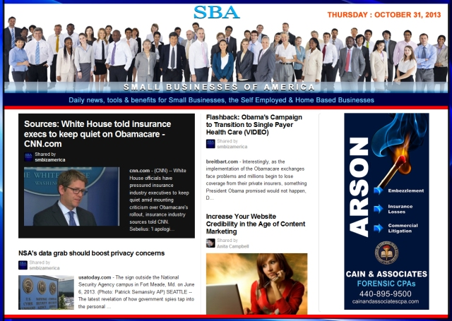 SBA Small Businesses of America 103113 news, smbiz, cain and associates