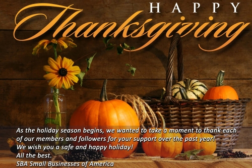 Happy Thanksgiving from SBA Small Businesses of America