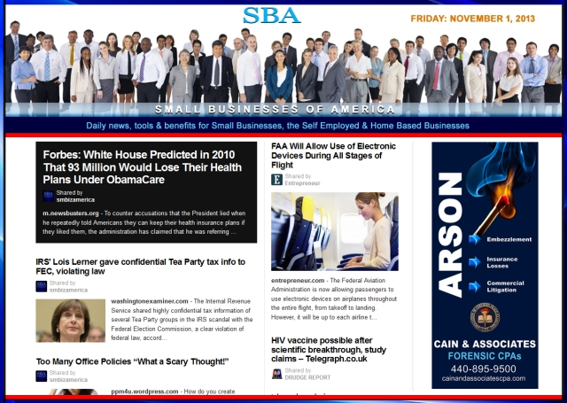SBA Small Businesses of America 110113 news, smbiz, cain and associates